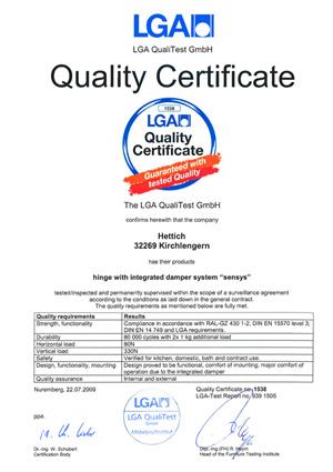 Sensys LGA 2009 Quality Certificate