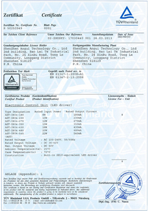 TUV Certificate No:326171825