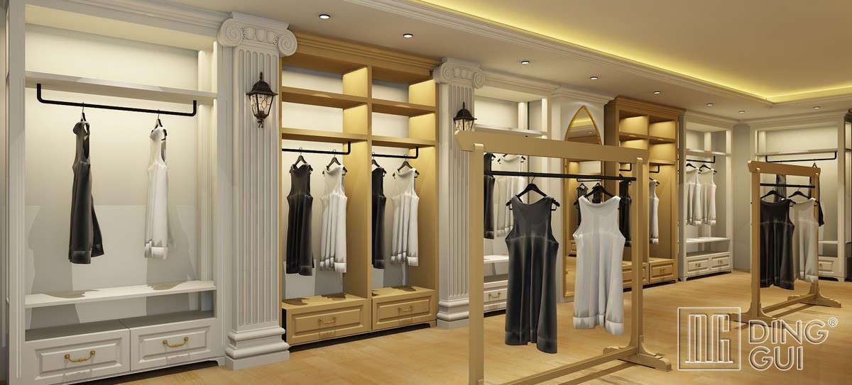 High end ladies garment shop display