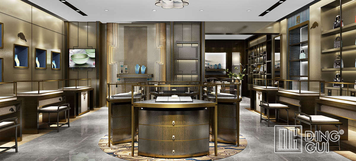 High End Luxury Gold Jewelry Display Showcases